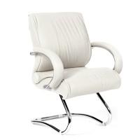 Кресло посетителя Chairman 445 кожа белая