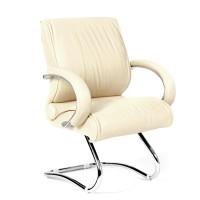 Кресло посетителя Chairman 445 кожа светло-бежевая
