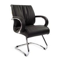 Кресло посетителя Chairman 445 кожа черная