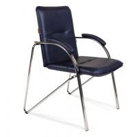 Кресло посетителя Chairman 850 Экокожа синий металик