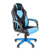Кресло руководителя Chairman GAME 17 черный/голубой