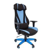 Кресло руководителя Chairman GAME 14 черный/голубой