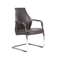 Кресло посетителя Chairman JazzzV Экокожа премиум комбинированная темно-серая/светло-серая