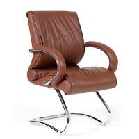 Кресло посетителя Chairman 445 кожа коричневая